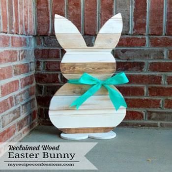 Kerti húsvéti nyuszis dekoráció maradék faanyagokból