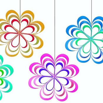 Egyszerű papír csík virágok - tavaszi függő ablakdekoráció