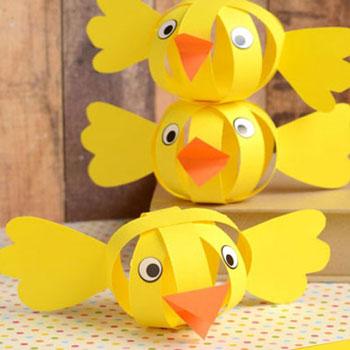 Papír csík gömb csibék - vidám húsvéti kreatív ötlet gyerekeknek