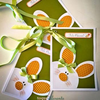 Aranyos nyuszis képeslap masnival - húsvéti üdvözlőlap