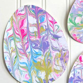 Papír márványozás borotvahabbal és festékkel - húsvéti dekoráció