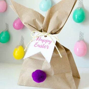 Nyuszifüles húsvéti ajándék csomagolás egyszerűen