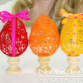 Spring (yarn) Easter egg tutorial - fun Easter decor
