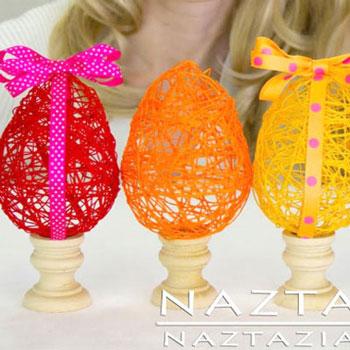 Húsvéti tojások fonalból lufival - kreatív húsvéti dekoráció