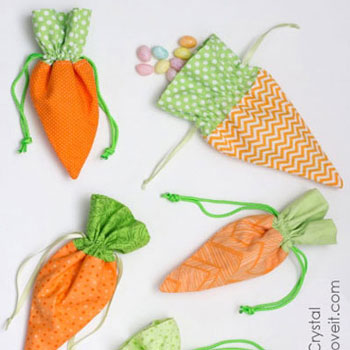 Easter carrot treat bag - free sewing pattern