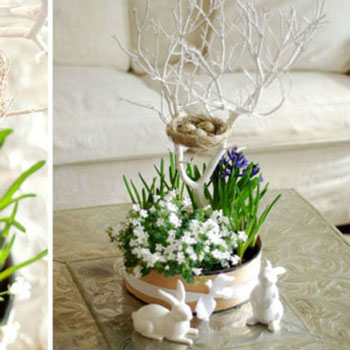 Spring decor with fresh flowers, branch tree and nest
