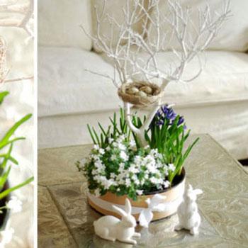 Tavaszi dekoráció hagymás virágokkal, faággal és madárfészekkel
