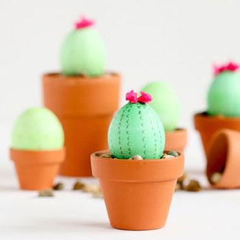 Kaktusz húsvéti tojások cserépben - kreatív tojásfestés