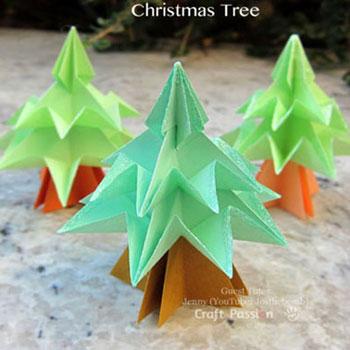 Origami karácsonyfák