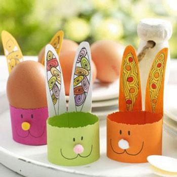 Húsvéti nyuszis tojástartó színes papírból (sablonnal)