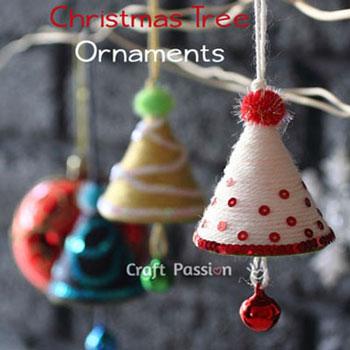 Harang alakú karácsonyfadíszek fonallal