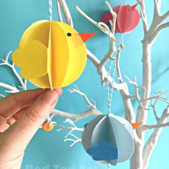 Pörgő térbeli papír gömb madarak - tavaszi dekoráció papírból