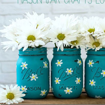 DIY Painted spring daisy mason jar vase - recycling craft