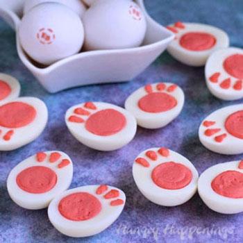 Nyuszi mancs formájú főtt töltött tojások - húsvéti előétel
