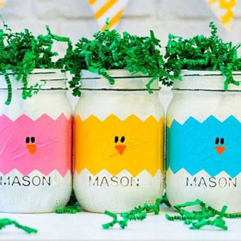Húsvéti tojások és csibék befőttes üvegből - kreatív ajándék