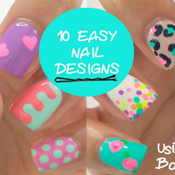10 Easy nail art design for beginners - painted with a bobby pin