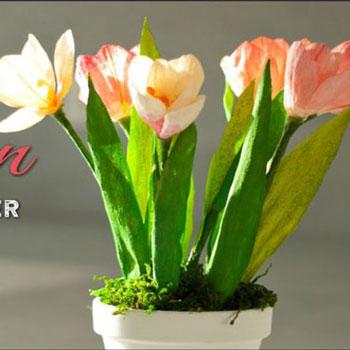 Krepp papír tulipánok készítése házilag -  kreatív tavaszi dekoráció