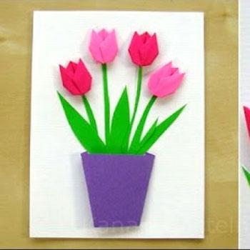 Tulipános tavaszi origami képeslap anyák napjára - papírhajtogatás
