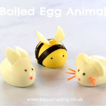 DIY Boiled egg animals - bunny,mouse and bee