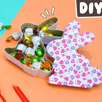 DIY cardboard bunny Easter treat box & chick gift card