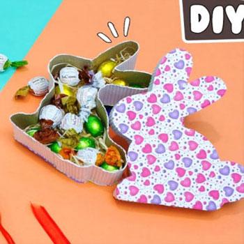 Nyuszi alakú húsvéti ajándékdoboz és képeslap egyszerűen