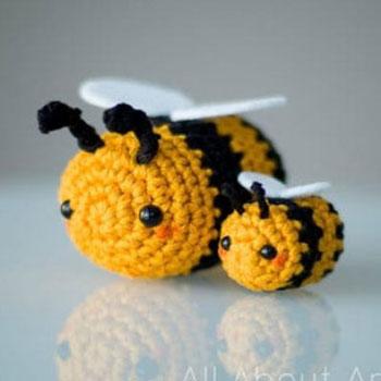 Aranyos és egyszerű horgolt (amigurumi) méhecske