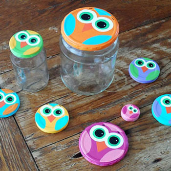 DIY Fun mason jar lid owls - recycling craft for kids