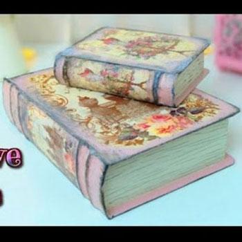 Vintage könyv alakú tárolók kartonpapírból (decoupage)