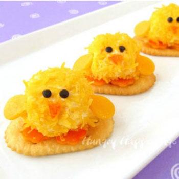 Egyszerű sonkás sajtgolyó csibék - kreatív húsvéti előétel