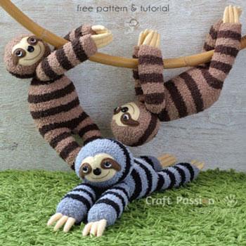 Puha lajhár plüssfigura zokniból és filcből - kreatív gyerekjáték