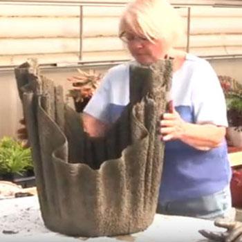 Gyönyörű textil hatású kaspók betonból és törülközőből