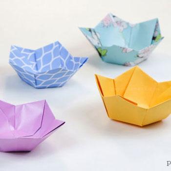 Egyszerű virág alakú origami tálkák papírból - papírhajtogatás