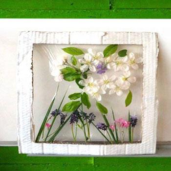 Tavaszi virágos képek egyszerűen fóliával kartonpapírból