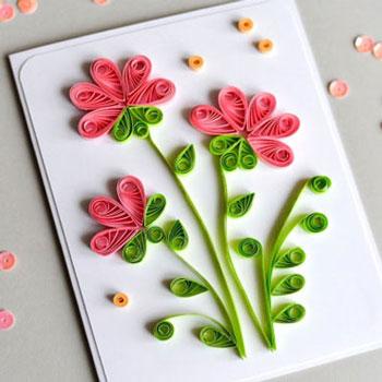 Tavaszi virágos képeslap quilling (papírcsík) technikával
