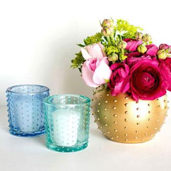 Vagány tüskés ( pöttyös ) vázák és mécsestartók gyöngyözéssel