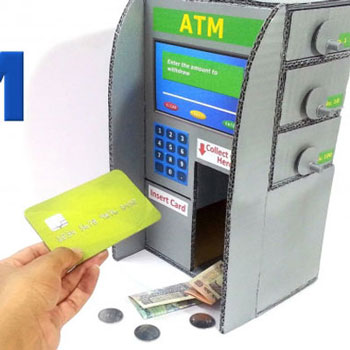 How to make ATM piggy bank for kids from cardboard