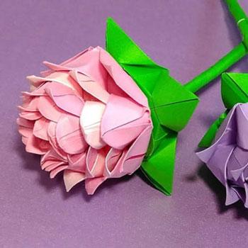 Gyönyörű origami rózsa - papír virág (papírhajtogatás)