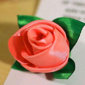 Mini szalag rózsabimbó selyem szalagból egyszerűen - kanzashi