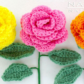 DIY Easy (beginner) crochet flower - crochet rose bouquet