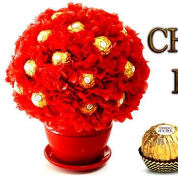 Ferrero Rocher csoki bonbon gömb virág csokor egyszerűen
