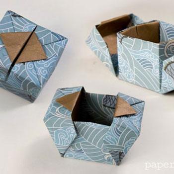 Egyszerű kinyitható papír origami ajándékdobozok - papírhajtogatás