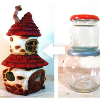 DIY Fairy house with attic using two mason jars - recycle