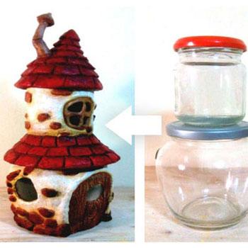 Gomba alakú manó házikó padlástérrel befőttes üvegekből