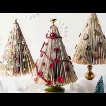 Karácsonyfa könyvlapokból - kreatív újrahasznosítás