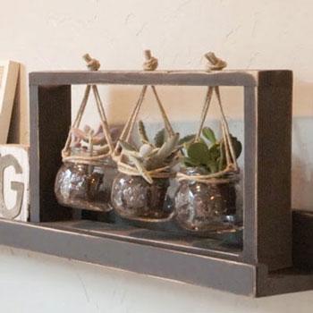 Függő asztali virágtartó (pozsgásokhoz) fából - barkácsolás
