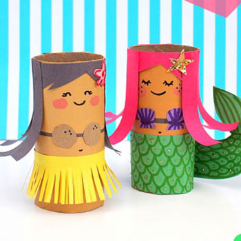 DIY Toilet paper roll mermaid and hula girl - summer craft for kids