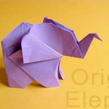 Origami kis elefánt -  egyszerű papírhajtogatás minta