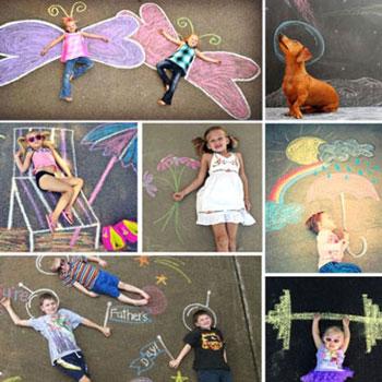 22 Vicces fotó háttér színes krétával - aszfaltrajz családi fényképekhez