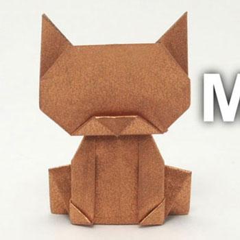 Egyszerű ülő origami cica (macska) - papírhajtogatás kezdőknek