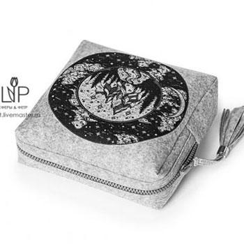Bojtos szürke kozmetikai táska ( ingyenes szabásmintával )